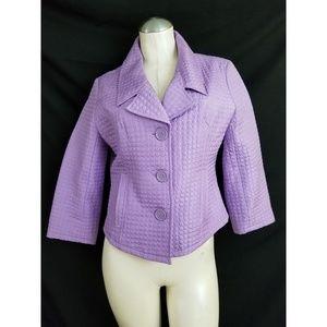 Anne Carson Size M Purple Silk Blazer